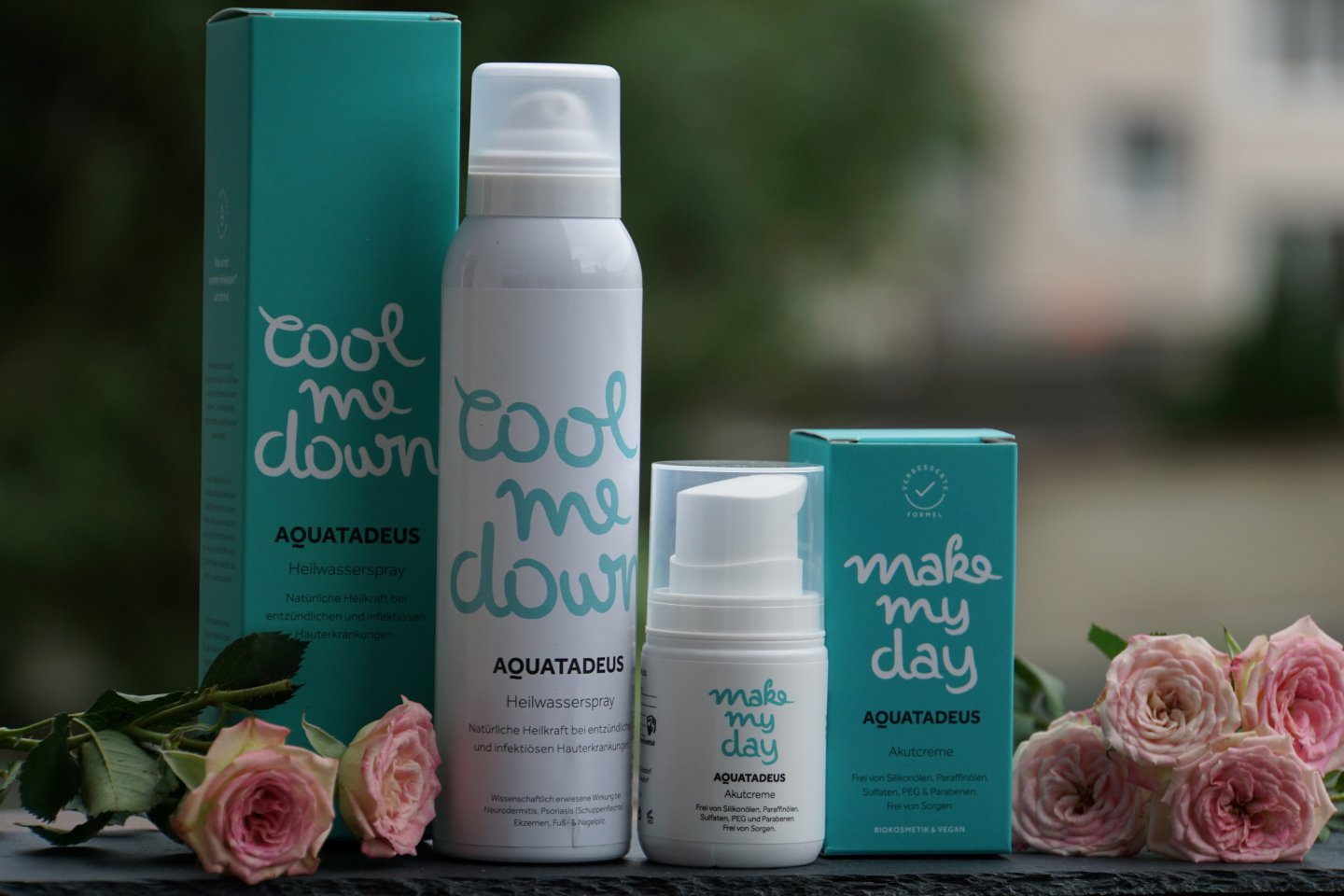 SOS Beautyhelfer Cool me down Heilwasserspray und Make my day Akutcreme von Aquatadeus
