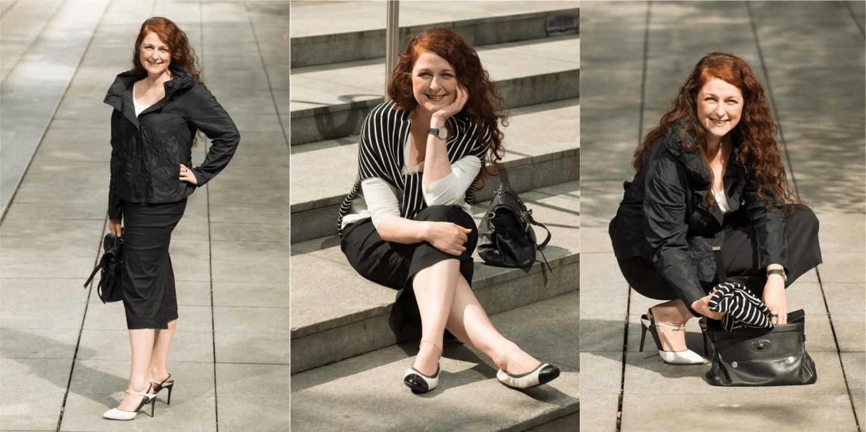 Outfit mit Highheels und Ballerinas kombiniert ü40 Modebloggerin Cerstin