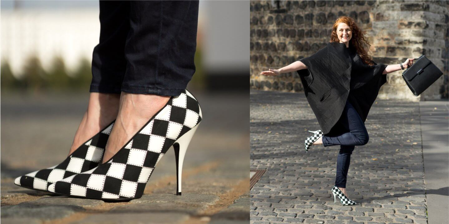 Ü40 Bloggerin in Stella McCartney Check Pointed Toe Pumps und Annette Görtz Jacke iknmlo