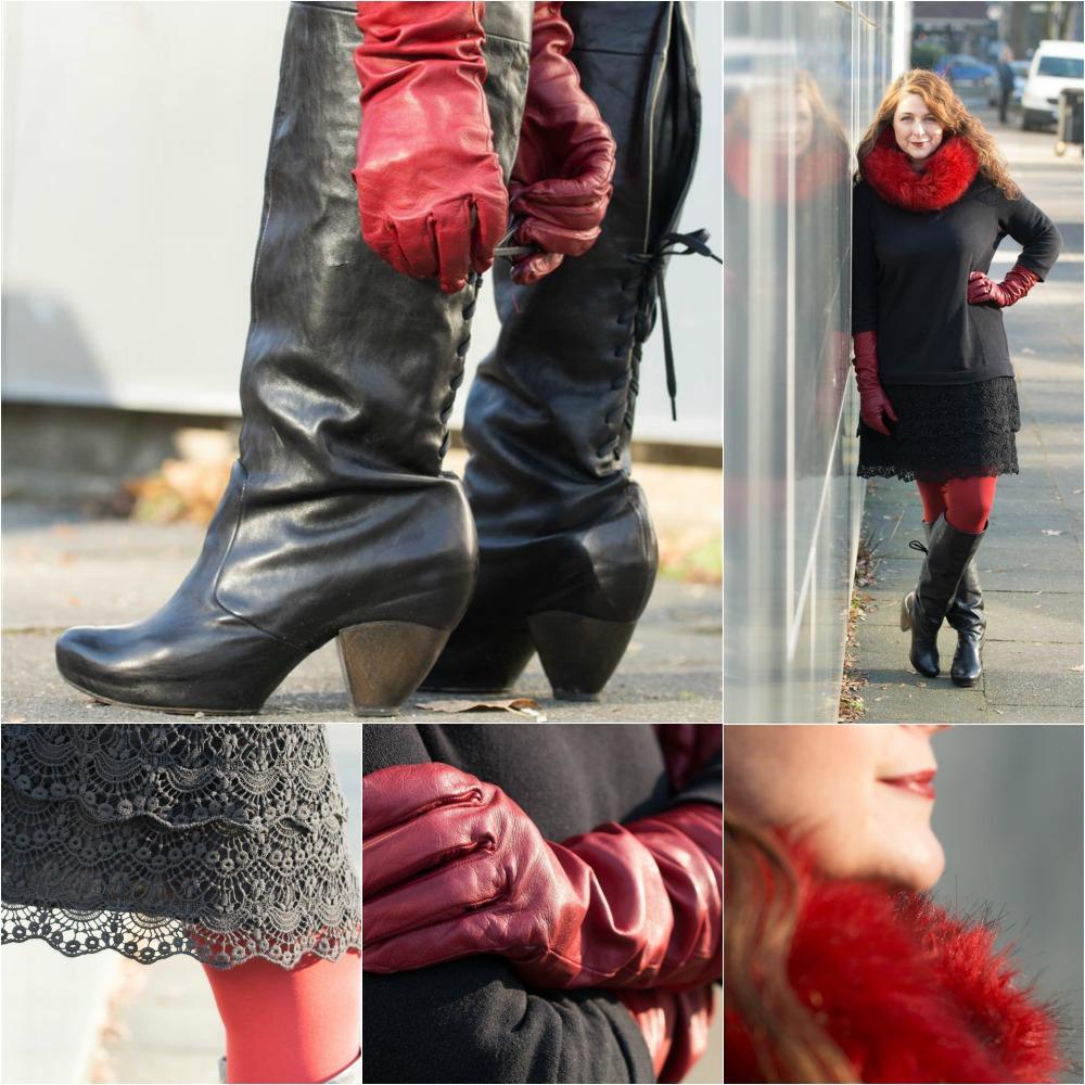 Ü40 Bloggerin Cerstin in einem Kleid von IKKS, roten Lederhandschuhen und Stiefeln von vialis Barcelona