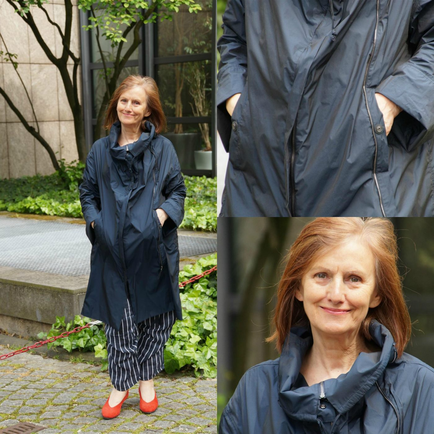 Ü60 Fashionbloggerin bei Iknmlo über Regenmantel von Annette Görtz
