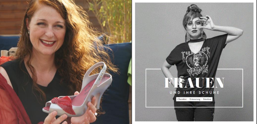 Frauen und ihre Schuhe - iknmlo Modebloggerin Cerstin mit Vivienne Westwood x Melissa Silver Lady Dragon Wings Sling Backs und Cover des Frauen und ihre Schuhe Bildbands mit Fotos von Calvin Hollywood von Vamos