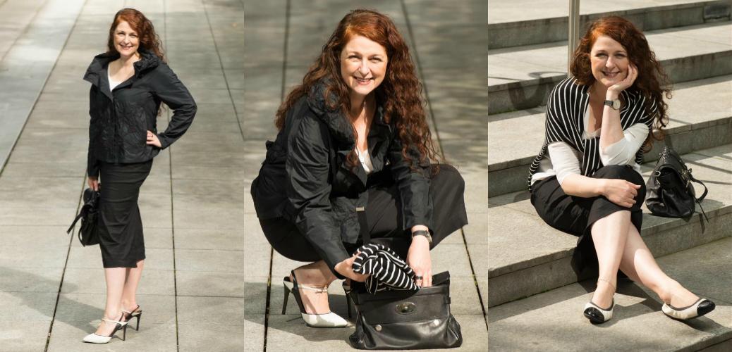 Ü40 Bloggerin Cerstin vom iknmlo Ü40 Modeblog mit High Heels von Reiss, Jacke von Annette Goertz und einem Pullover von COS
