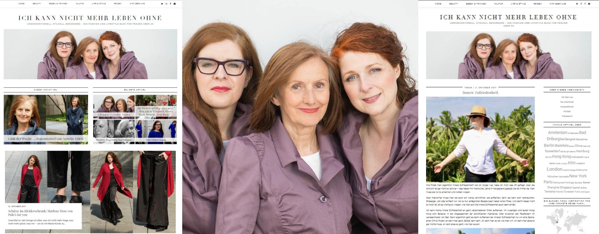 Collage mit den drei Ü40 Bloggerinnen von IKNMLO und Screenshots der Website des Modeblogs für Frauen über 40