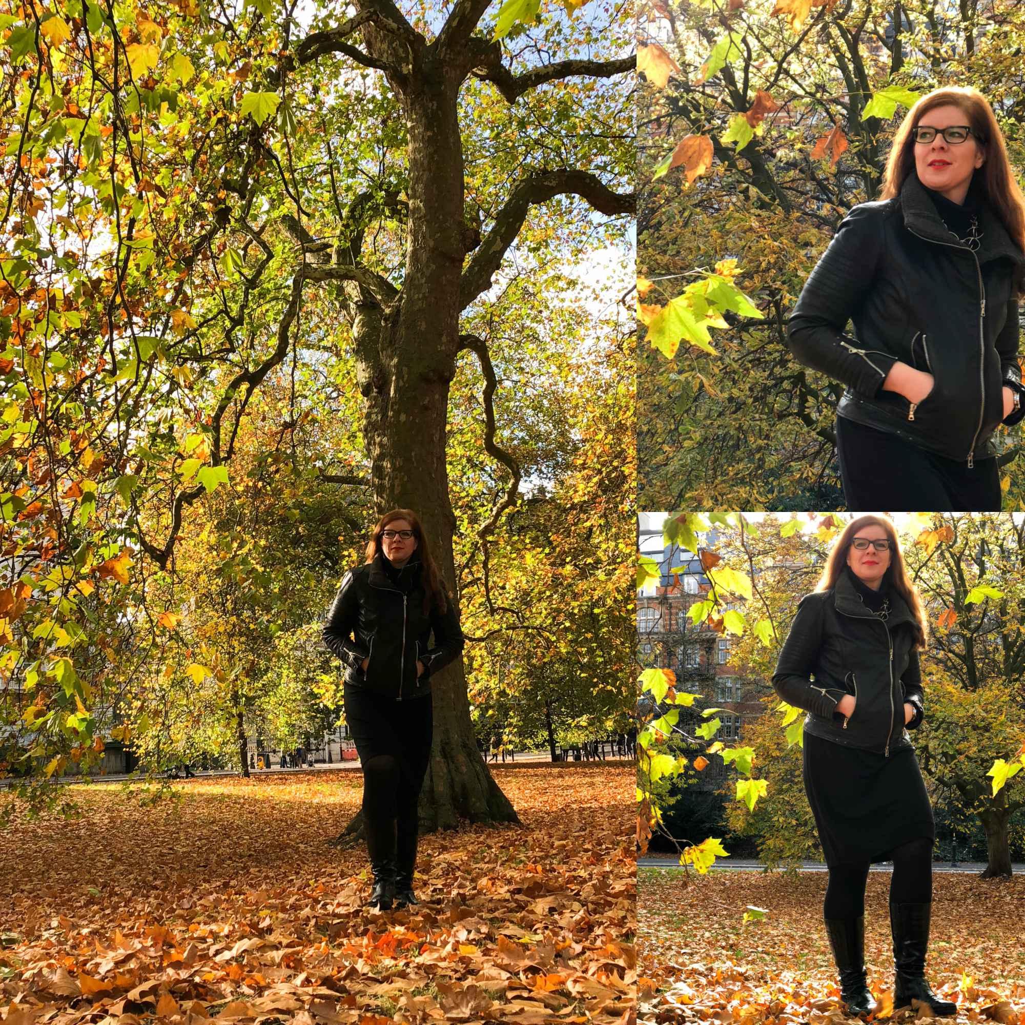 Bloggerin Tanja vom Ü40 Iknmlo Mode und Fashionblog im herbstlichen Hyde Park in London mit Lederjacke von Marc Aurel und Kleid von Jigsaw