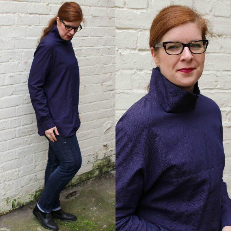 Bloggerin Tanja vom Ü40 Iknmlo Mode und Fashionblog mit Bluse mit Stehkragen in Lila FFIXXED STUDIOS
