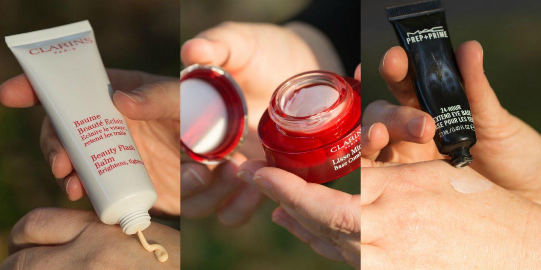 Clarins Primer und MAC Eyeshadow Primer für Glamour Silver Make-up für Frauen über 40 von Cerstin 40 plus Fashionblogger von iknmlo