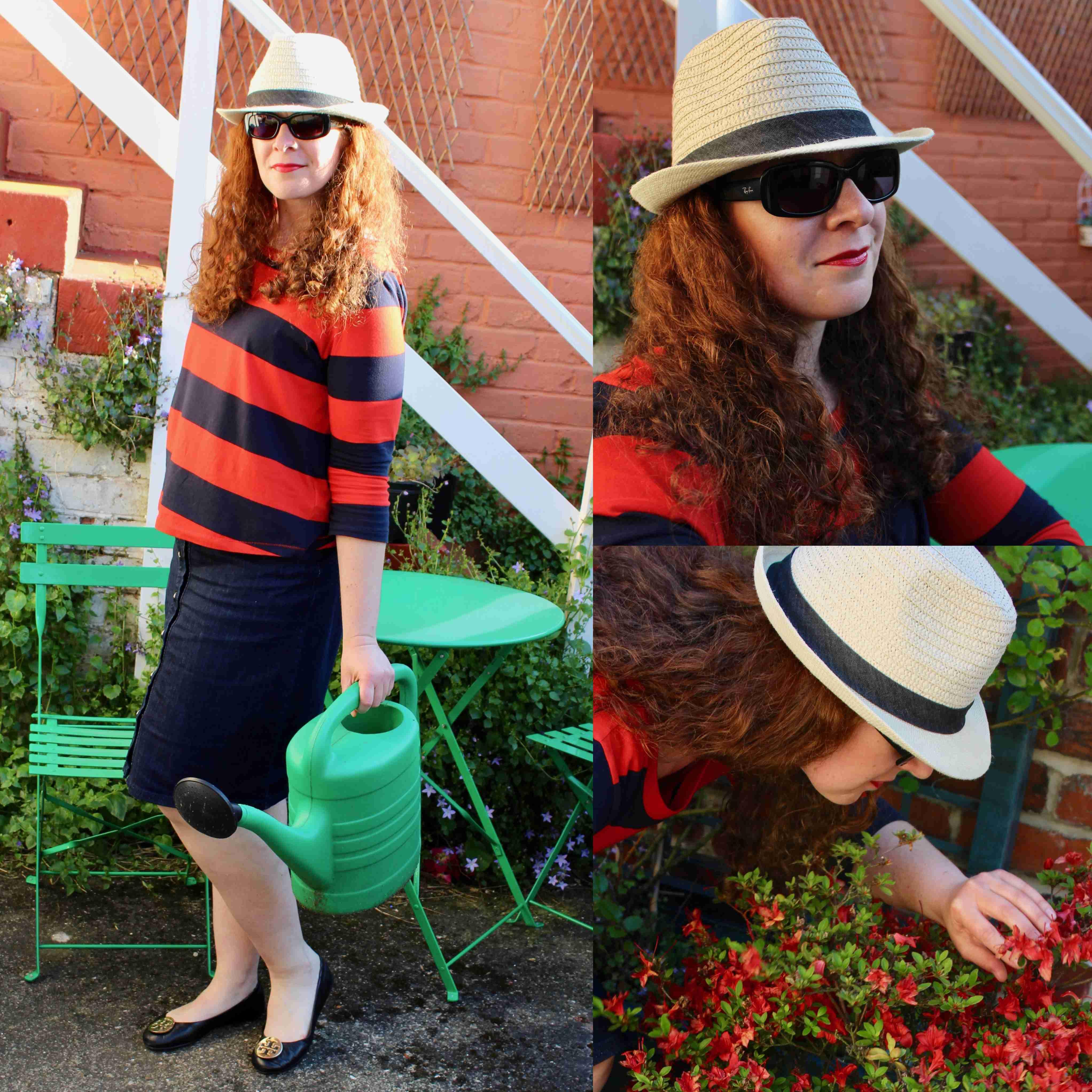 Ü40 Modebloggerin Tanja Garten Streifen T-shirt Jeansrock Fashion Mode
