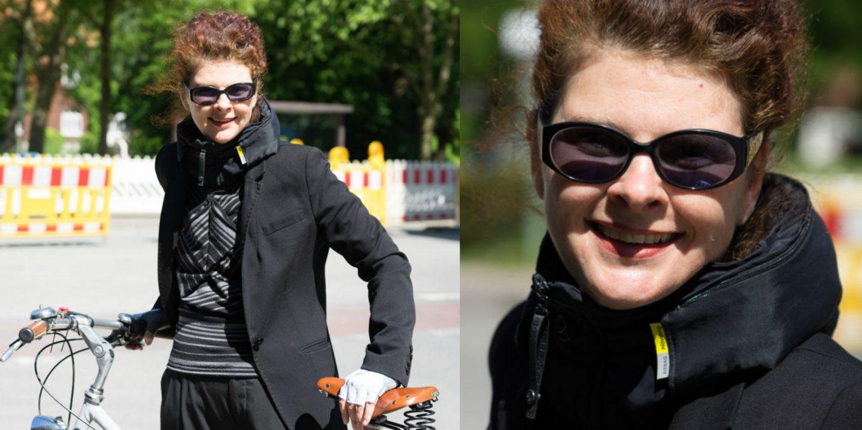 Modedesignerin Suncana Dulic mit ihrem Hövding Fahrrad-Airbag