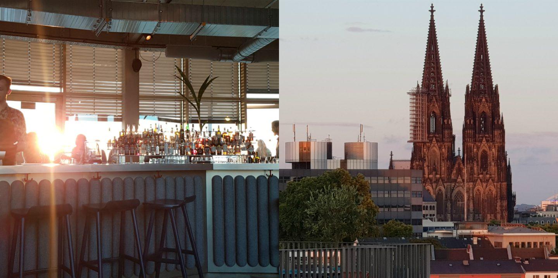 Blick auf den Kölner Dom von der Terrasse der Monkey Bar im 25 hours the circle Cologne in Köln
