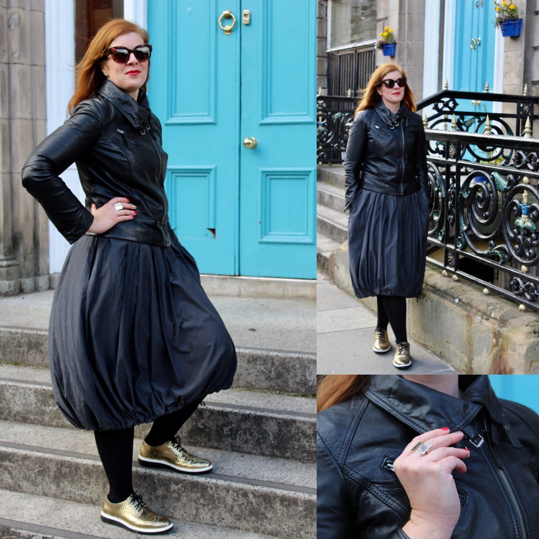 Ü40 Grau Kleid Lederjacke Ballonkleid Edinburgh Sonnenbrille IKNMLO