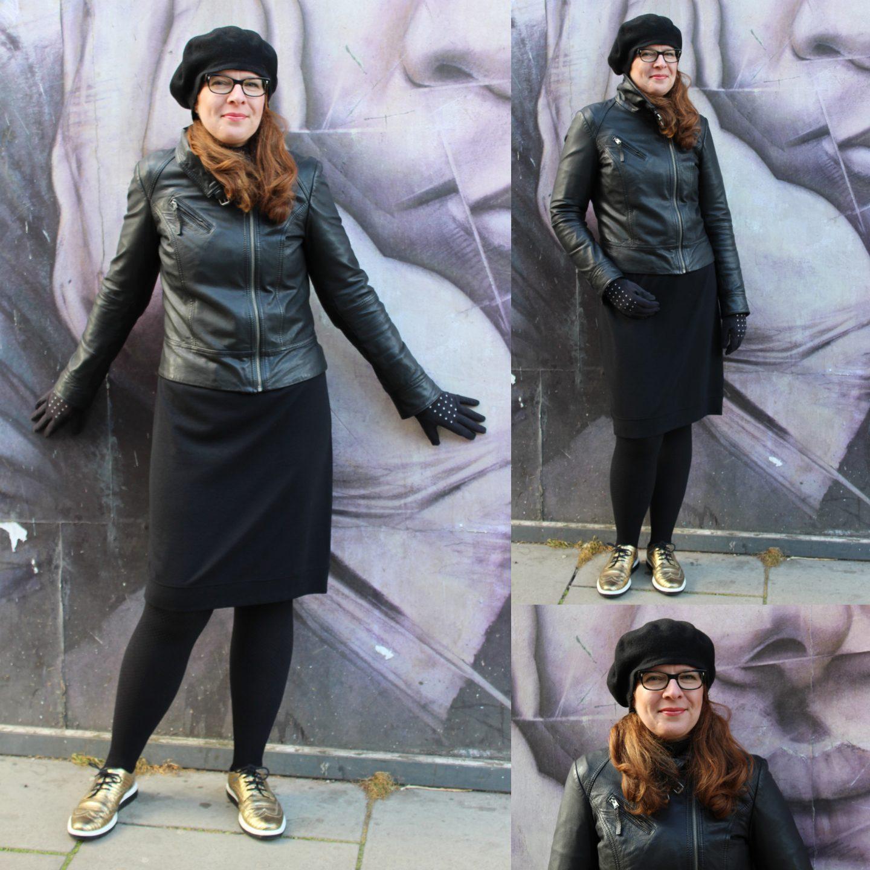 Ü40 Schwarz Kleid Lederjacke Edinburgh Hut IKNMLO