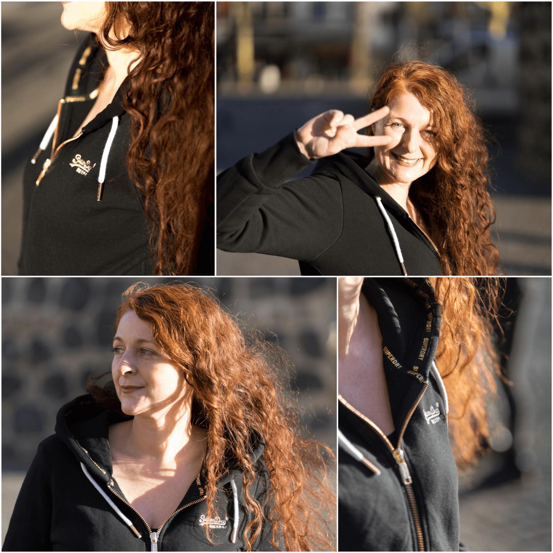 Stilinspiration Sweatshirtjacke Hoodie Superdry Ü40 Modebloggerin Black and Gold und Schwarz