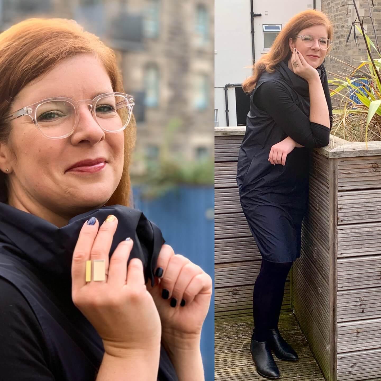 Cos Kleid Kragen Blau Schwarz Edinburgh