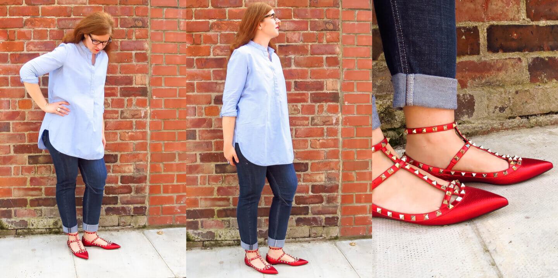 Valentino Rockstud rote Schuhe Ballerinas Jeans Stylerebelles
