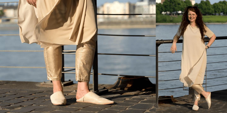 So trägt man Mules - nicht nur mit Ü50 Outfit Look Mules von Samarkand