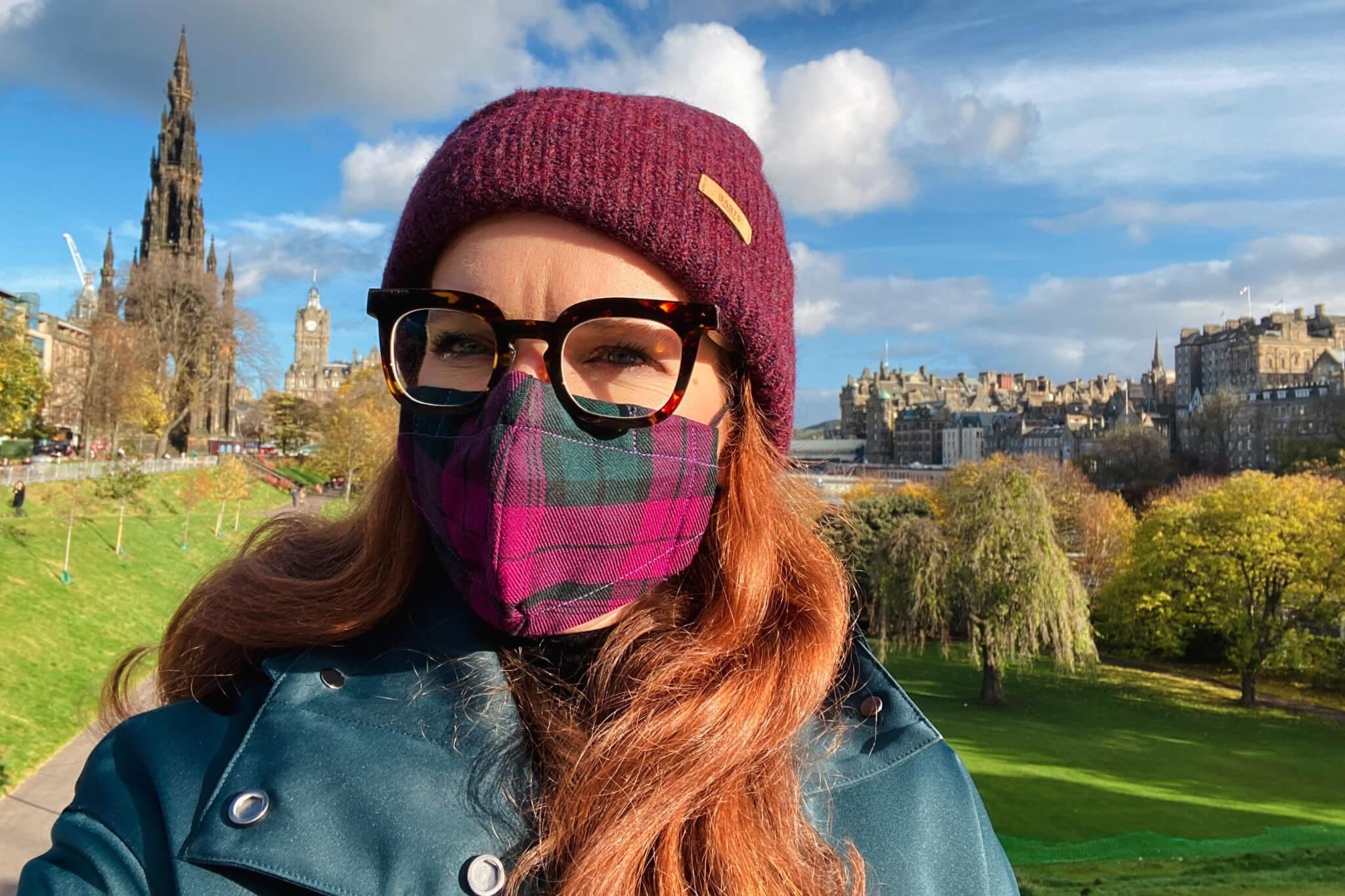 Herbst Maske DIY Tartan Edinburgh Coronavirus face covering