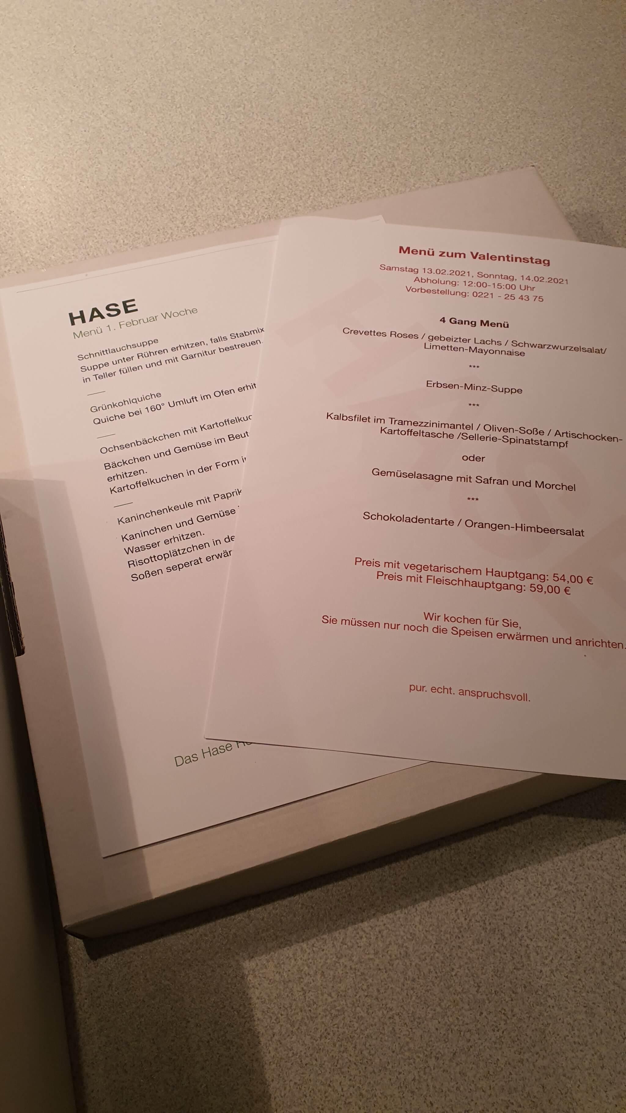 Restaurant Hase to go Menü Köln