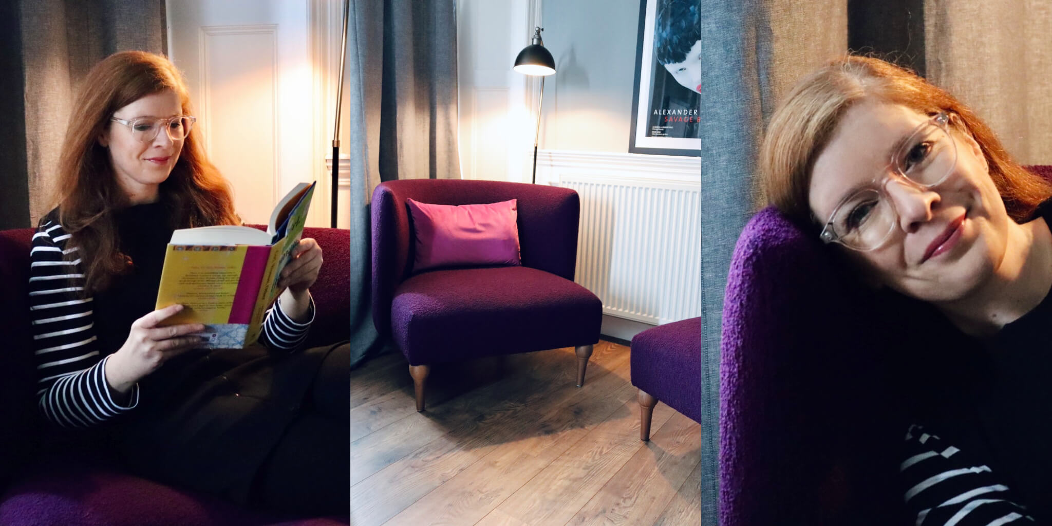 Sessel handgefertigt Lila lesen relaxen Weberei Isle of Bute Leith Be Seated Edinburgh